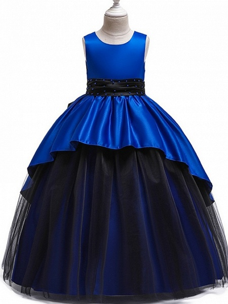 Princess Round Floor Length Cotton Junior Bridesmaid Dress With Bow(S) / Ruching_2