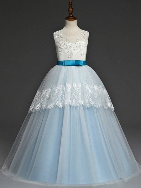 A-Line Floor Length Pageant Flower Girl Dresses - Tulle Sleeveless Jewel Neck With Lace / Bow(S)_3