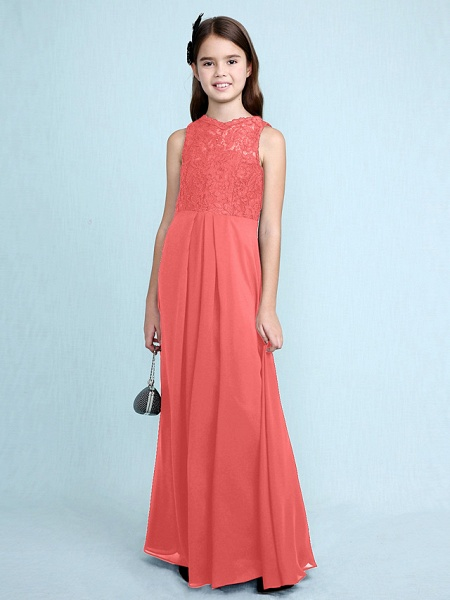 Sheath / Column Scoop Neck Floor Length Chiffon / Lace Junior Bridesmaid Dress With Lace / Natural_16