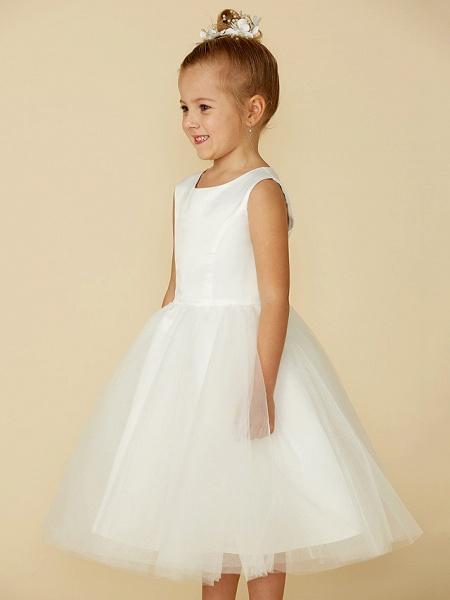 Princess Tea Length Wedding / First Communion Flower Girl Dresses - Satin / Tulle Sleeveless Jewel Neck With Lace_6