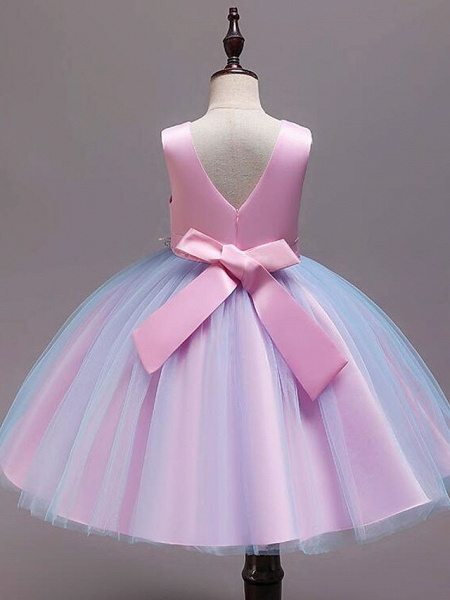 Princess Knee Length Wedding / Party / Pageant Flower Girl Dresses - Satin / Tulle / Cotton Sleeveless Jewel Neck With Belt / Embroidery / Appliques_8