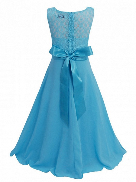 Princess / Ball Gown Maxi Party / Formal Evening / Pageant Flower Girl Dresses - Tulle / Poly&Cotton Blend Sleeveless Jewel Neck With Lace / Solid_14