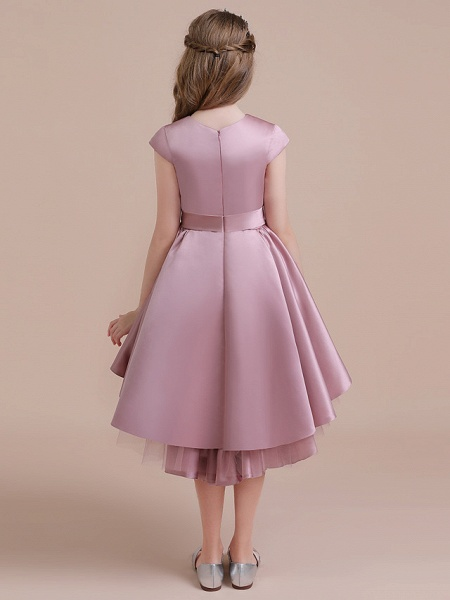 A-Line Asymmetrical Christmas / Birthday / Pageant Flower Girl Dresses - Satin / Tulle Sleeveless Jewel Neck With Side Draping_5