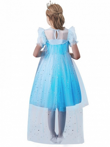 Princess / A-Line Floor Length Wedding / Party Flower Girl Dresses - Tulle Short Sleeve Jewel Neck With Paillette_2