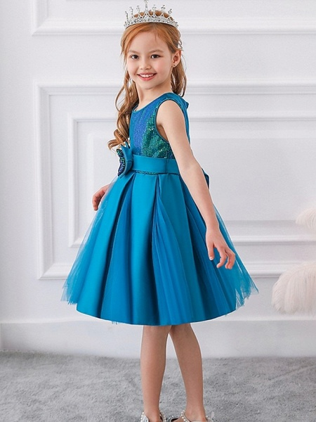 Princess / Ball Gown Knee Length Wedding / Party Flower Girl Dresses - Tulle Sleeveless Jewel Neck With Sash / Ribbon / Bow(S) / Paillette_6