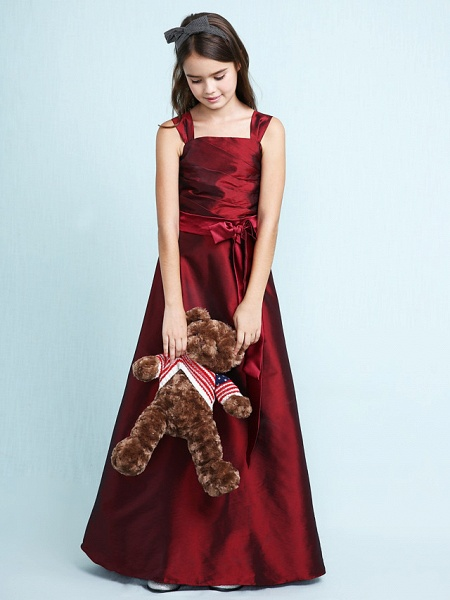 Princess / A-Line Straps Floor Length Taffeta Junior Bridesmaid Dress With Sash / Ribbon / Bow(S) / Ruched / Spring / Fall / Winter / Wedding Party / Natural_5