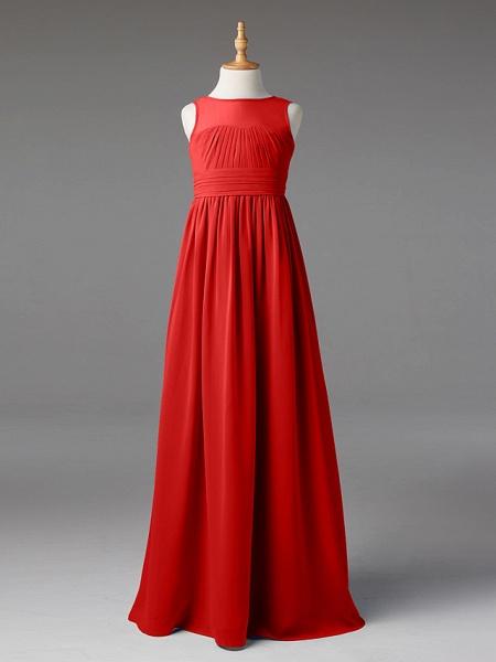 Princess / A-Line Jewel Neck Floor Length Chiffon Junior Bridesmaid Dress With Sash / Ribbon / Pleats_25