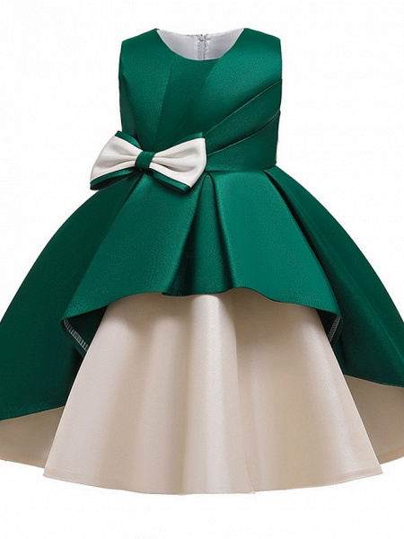 Princess / A-Line Knee Length Wedding / Party Flower Girl Dresses - Mikado Sleeveless Jewel Neck With Bow(S) / Tiered_9