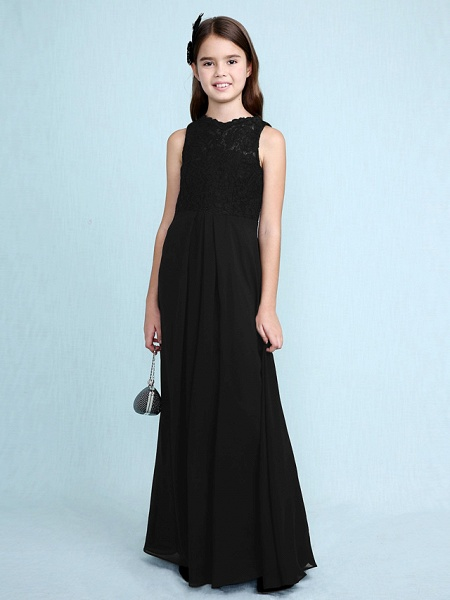 Sheath / Column Scoop Neck Floor Length Chiffon / Lace Junior Bridesmaid Dress With Lace / Natural_42