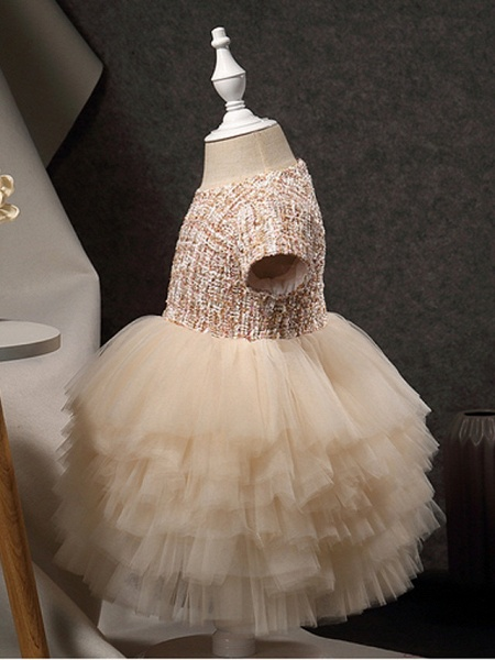 Princess Ankle Length Pageant Flower Girl Dresses - Polyester Short Sleeve Jewel Neck With Beading / Appliques_2