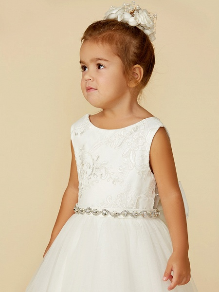 Princess Floor Length Wedding / First Communion Flower Girl Dresses - Lace / Tulle Sleeveless Jewel Neck With Lace / Sash / Ribbon / Bow(S)_5