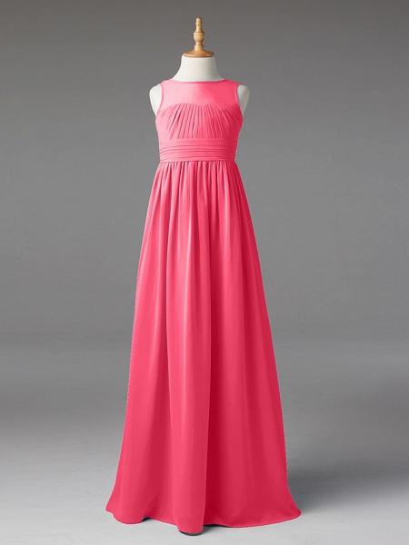 Princess / A-Line Jewel Neck Floor Length Chiffon Junior Bridesmaid Dress With Sash / Ribbon / Pleats_21