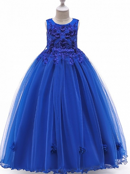 A-Line Floor Length Pageant Flower Girl Dresses - Tulle Sleeveless Jewel Neck With Bow(S) / Beading / Appliques_3