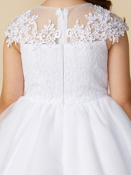 Ball Gown Ankle Length Wedding / First Communion Flower Girl Dresses - Lace / Tulle Short Sleeve Jewel Neck With Beading / Appliques_6