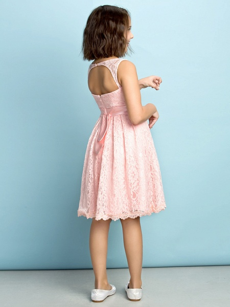 A-Line Scoop Neck Knee Length All Over Floral Lace Junior Bridesmaid Dress With Lace / Natural / Mini Me_3
