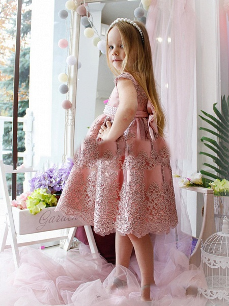 Princess / A-Line Tea Length Party / Birthday Flower Girl Dresses - Lace / Satin Cap Sleeve Jewel Neck With Appliques_2