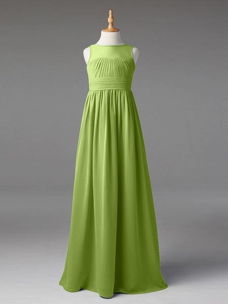 Princess / A-Line Jewel Neck Floor Length Chiffon Junior Bridesmaid Dress With Sash / Ribbon / Pleats_39