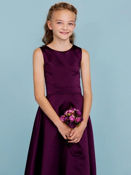 A-Line Jewel Neck Floor Length Satin Junior Bridesmaid Dress With Sash / Ribbon / Wedding Party / Open Back_5