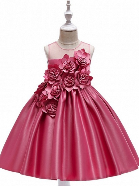 Princess / Ball Gown Knee Length Wedding / Party Flower Girl Dresses - Tulle Sleeveless Jewel Neck With Bow(S) / Pleats / Flower_6