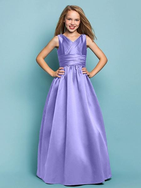 Princess / A-Line V Neck Floor Length Satin Junior Bridesmaid Dress With Sash / Ribbon / Criss Cross / Spring / Summer / Fall / Apple / Hourglass_37