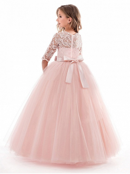 Princess Long Length Wedding / Party / Pageant Flower Girl Dresses - Lace / Tulle Half Sleeve Jewel Neck With Lace / Belt_6