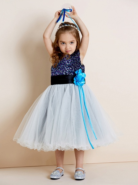 A-Line Tea Length Tulle / Sequined Sleeveless Jewel Neck With Sash / Ribbon / Sequin / Draping / Mini Me_10