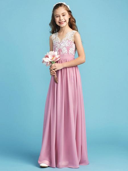 Princess / A-Line Queen Anne Floor Length Chiffon / Lace Junior Bridesmaid Dress With Lace / Sash / Ribbon / Pleats_4