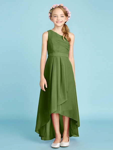 A-Line One Shoulder Asymmetrical Chiffon Junior Bridesmaid Dress With Sash / Ribbon / Bow(S) / Side Draping / Natural_43