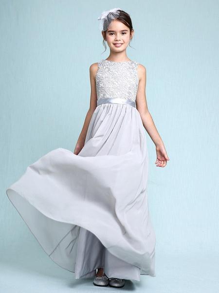 Sheath / Column Bateau Neck Floor Length Chiffon / Lace Junior Bridesmaid Dress With Lace / Natural_8