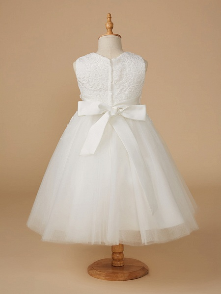 Ball Gown Knee Length Wedding / First Communion Flower Girl Dresses - Lace / Tulle Sleeveless Jewel Neck With Appliques_2
