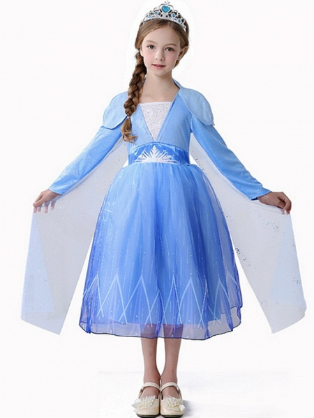 A-Line Ankle Length Event / Party / Birthday Flower Girl Dresses - Polyester Long Sleeve Square Neck With Paillette_3