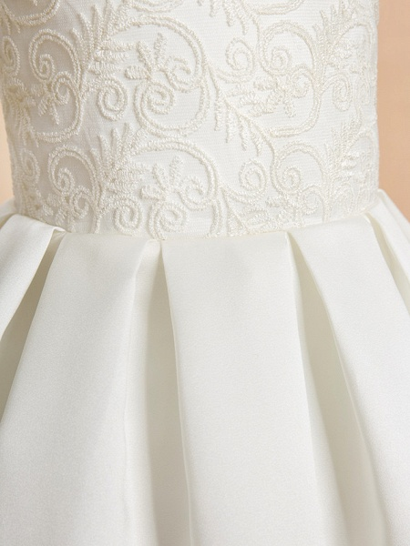A-Line Ankle Length Wedding / First Communion Flower Girl Dresses - Lace / Satin Sleeveless Jewel Neck With Lace_6