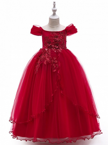 Ball Gown Floor Length Wedding / Party Flower Girl Dresses - Tulle Sleeveless Off Shoulder With Bow(S) / Solid / Tiered_7
