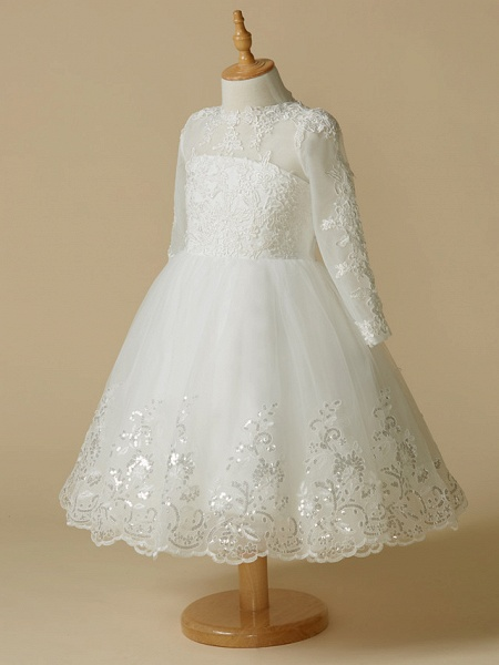 Princess Knee Length Wedding / First Communion Flower Girl Dresses - Lace / Tulle Long Sleeve Jewel Neck With Lace / Appliques_3