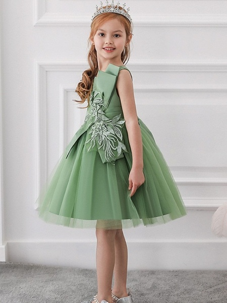 Princess / Ball Gown Knee Length Wedding / Party Flower Girl Dresses - Satin / Tulle Sleeveless Jewel Neck With Bow(S) / Appliques_4