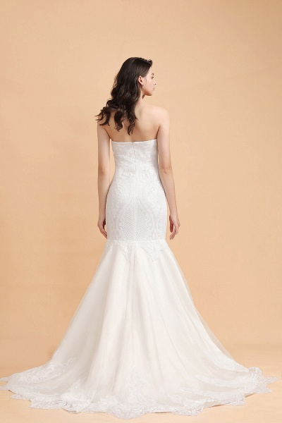 Sparkle Mermaid Sweetheart White Court Train Wedding Dress_3