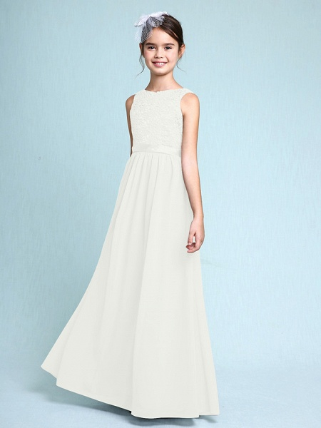 Sheath / Column Bateau Neck Floor Length Chiffon / Lace Junior Bridesmaid Dress With Lace / Natural_21