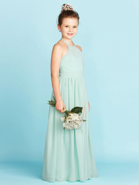 Princess / A-Line Halter Neck Floor Length Chiffon Junior Bridesmaid Dress With Sash / Ribbon / Pleats / Wedding Party / Open Back_4