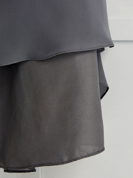 A-Line V Neck Maxi Chiffon Junior Bridesmaid Dress With Ruching_10