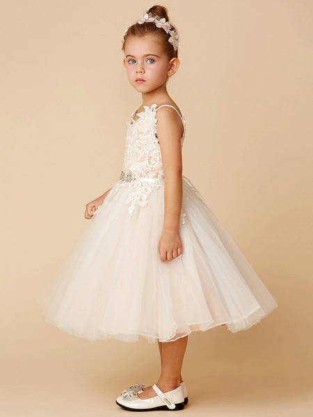 Princess Knee Length Wedding / First Communion Flower Girl Dresses - Lace / Tulle Sleeveless Spaghetti Strap With Crystal / Lace / Sashes / Ribbons_3