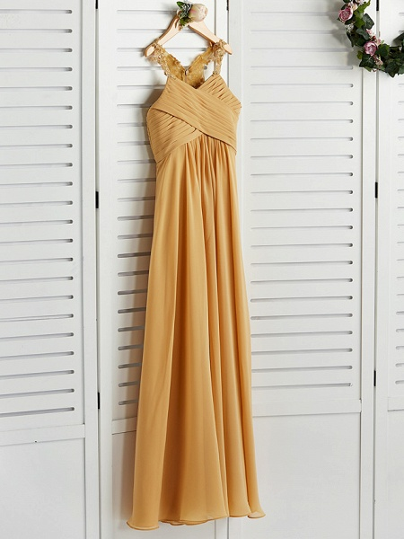 A-Line Halter Neck Floor Length Chiffon Junior Bridesmaid Dress With Appliques / Ruching / Wedding Party_5