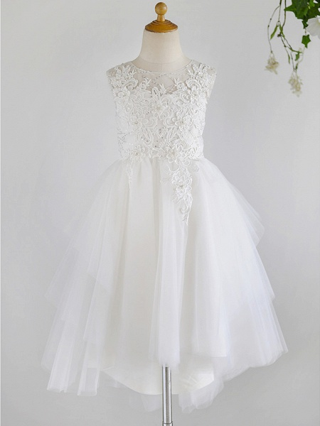 Ball Gown Asymmetrical Wedding / First Communion / Birthday Flower Girl Dresses - Lace / Tulle Sleeveless Jewel Neck With Beading_1