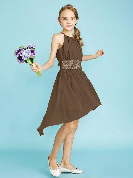 Sheath / Column Jewel Neck Asymmetrical Chiffon Junior Bridesmaid Dress With Sequin / Natural_37
