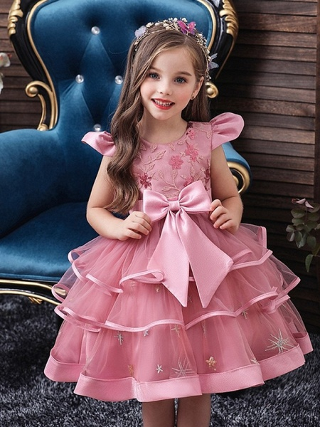 Princess / Ball Gown Knee Length Wedding / Party Flower Girl Dresses - Tulle Short Sleeve Jewel Neck With Bow(S) / Embroidery / Cascading Ruffles_2