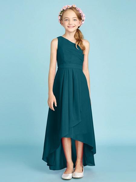 A-Line One Shoulder Asymmetrical Chiffon Junior Bridesmaid Dress With Sash / Ribbon / Bow(S) / Side Draping / Natural_38