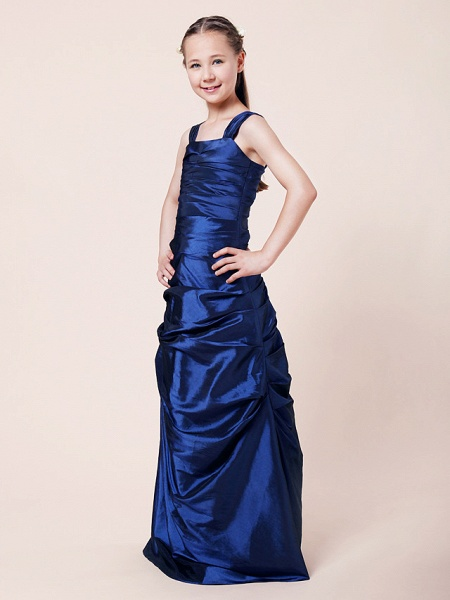 Princess / A-Line Straps Floor Length Taffeta Junior Bridesmaid Dress With Ruched / Side Draping / Spring / Fall / Winter / Wedding Party / Natural_2