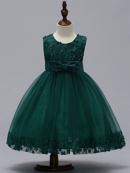 Ball Gown Knee Length Wedding / Party Flower Girl Dresses - Tulle Sleeveless Jewel Neck With Bow(S)_7