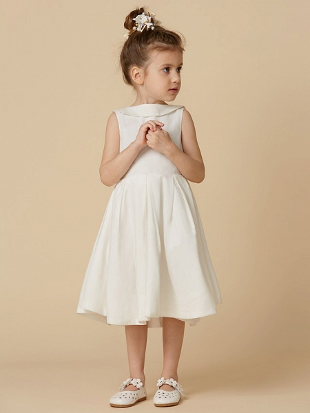 A-Line Knee Length Wedding / First Communion Flower Girl Dresses - Cotton Sleeveless Jewel Neck With Pearls_4