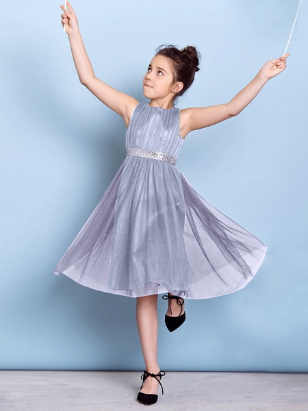 A-Line Jewel Neck Knee Length Tulle Junior Bridesmaid Dress With Sash / Ribbon / Sequin / Draping / Natural_37