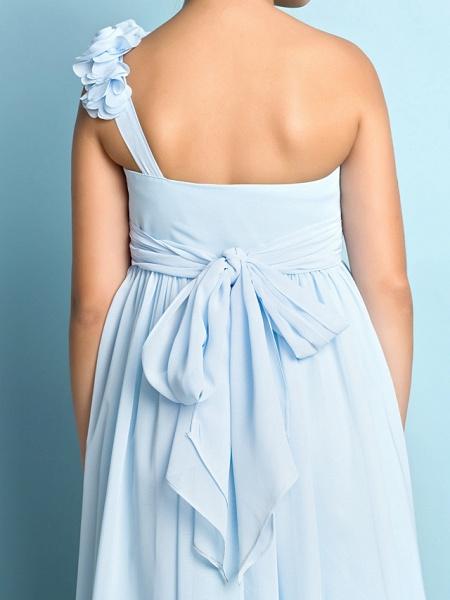 A-Line One Shoulder Asymmetrical Chiffon Junior Bridesmaid Dress With Criss Cross / Flower / Natural / Mini Me_4